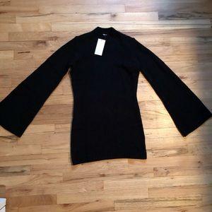 Tobi black bell-sleeve sweater dress